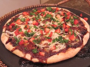 Balsamic Strawberry Pizza w/Chicken, Sweet Onion & Bacon.   Gourmet~