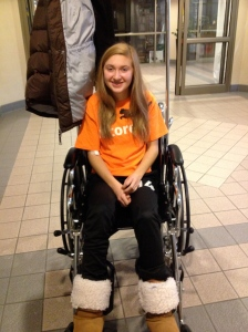 Megan's first ride in a wheelchair ever.