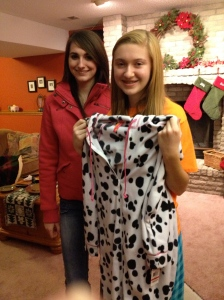 Dalmation footie pajamas with a hood!