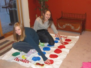 Lauren & Emily on the Twister board.