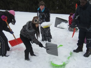 Filling sleds w/snow helped the process.