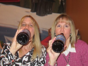 "Peggy & I working on our ""monster-size"" beers."