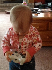 Found the xBox controller. She'll be a gamer soon!