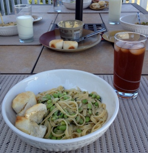 We ended our beautiful Saturday with a light pasta dinner out on the deck.