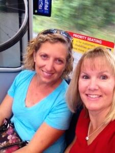 """Karin & I on the """"rail""""  ha!"""