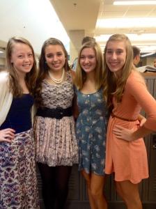 Olivia, Noelle, Megan & Courtney on dress-up day.