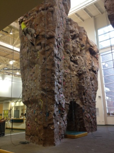 The rock wall was very popular at the gym~
