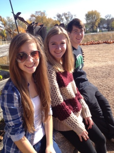 Kelly, Megan & Jacob.  Still wanting to come with me to get pumpkins.
