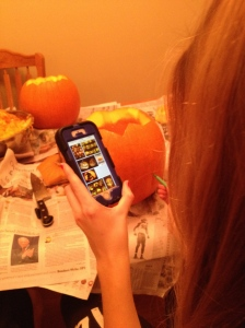 Technology plays a part in the designing portion of Megan's pumpkin.