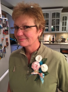 Her corsage was made out of baby socks.  Super cute!