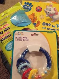 Rattles, bibs & bath toys.  All necessities!