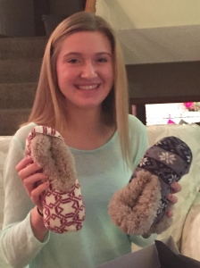 Like mom, Megan loves her slippers.