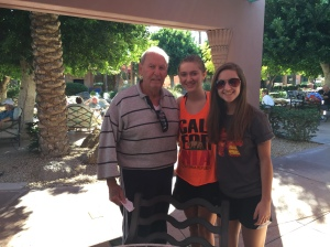 Grandpa loved having two pretty girls around him the whole time.