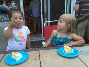 Happiness to a 3 year old...having cake w/your girlfriend.