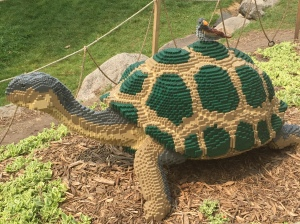 Galapagos Tortoise & Finch.  Made with 23,317 Lego's