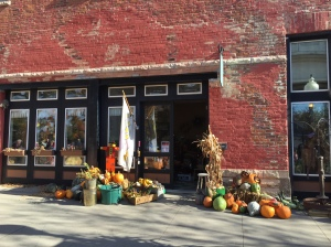 Loved the old brick buildings along with the fall decorations.